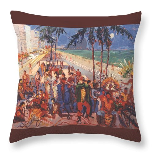 Rio De Janeiro Throw Pillow featuring the painting Happening by Walter Casaravilla