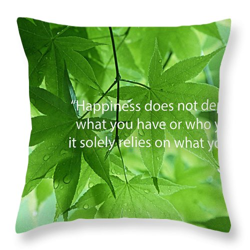 Inspiration Throw Pillow featuring the mixed media Happiness A Simple Reminder by Marvin Blaine
