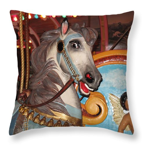 Carousel Throw Pillow featuring the photograph Happiness Here by Barbara McDevitt