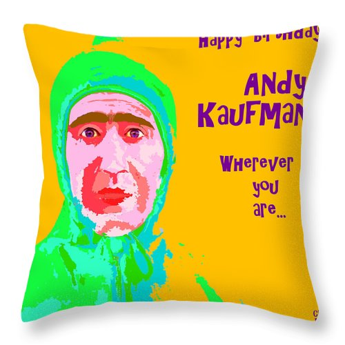 Andy Kaufman Throw Pillow featuring the digital art Happy Birthday Andy Kaufman by Cec