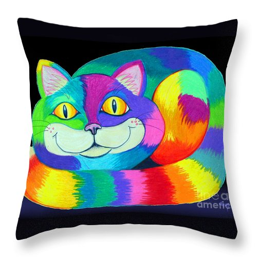 Cat Throw Pillow featuring the drawing Happy Cat Dark Back Ground by Nick Gustafson