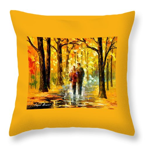 Oil Paintings Throw Pillow featuring the painting Happy Couple - Palette Knife Oil Painting On Canvas By Leonid Afremov by Leonid Afremov