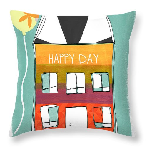 Birthday Throw Pillow featuring the mixed media Happy Day Card by Linda Woods