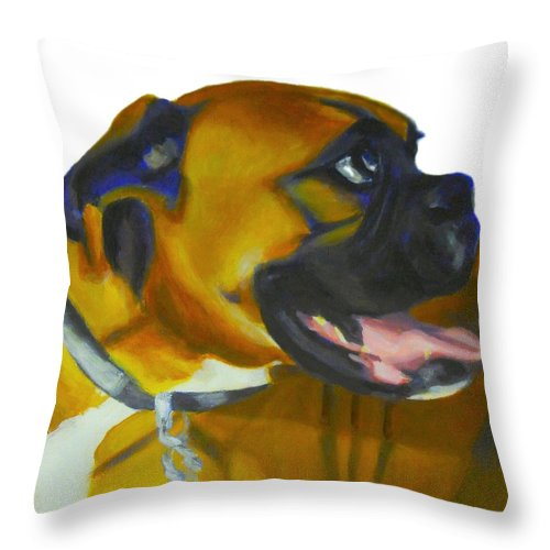 Dog Throw Pillow featuring the painting Happy Dog by Sarah Vandenbusch