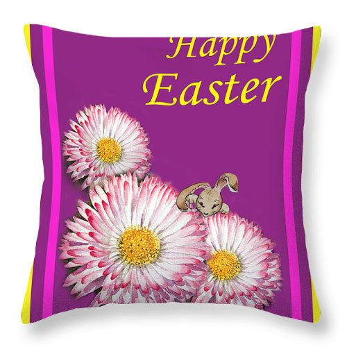 Easter Throw Pillow featuring the painting Happy Easter Hiding Bunny by Irina Sztukowski