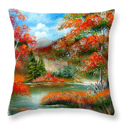 Fall Throw Pillow featuring the painting Happy Ever After Autumn by Patrice Torrillo