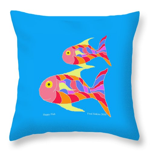 Happy Fish Throw Pillow featuring the painting Happy Fish by Fred Jinkins