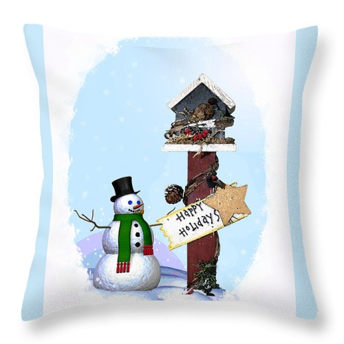 Snowman Throw Pillow featuring the photograph Happy Holidays by Debby Richards