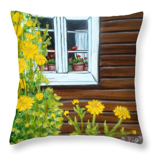 Window Throw Pillow featuring the painting Happy Homestead by Laurie Morgan