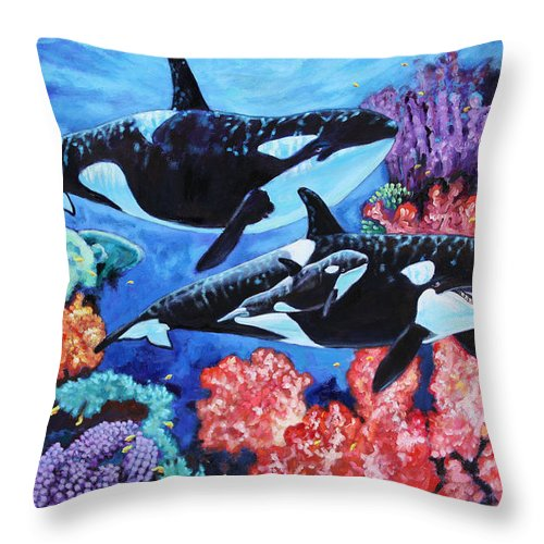 Whales Throw Pillow featuring the painting Happy Life of a Killer Whale by John Lautermilch