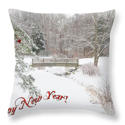 Happy New Year Greeting Card. Winter Landscape. Snowscape. River. Bridge. Forest. Snow. Deer. Cardinal. Wildlife. Nature. Digital Art. Fine Art. Photography. Print. Poster. Greeting Card. Texture. Canvas. Throw Pillow featuring the photograph Happy New Year by Mary Timman