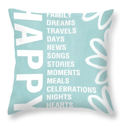 Typography Throw Pillow featuring the painting Happy Things Blue by Linda Woods