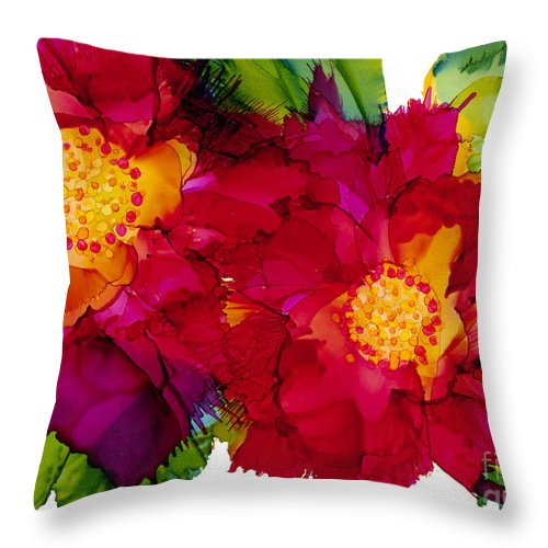 Flowers Throw Pillow featuring the painting Happy to See You by Francine Dufour Jones