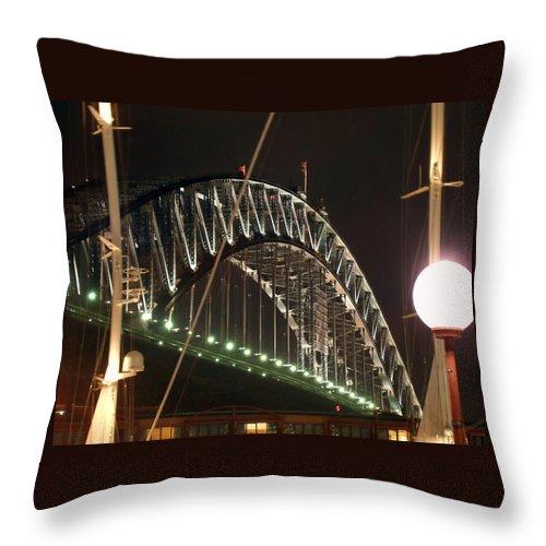 Harbor Bridge Throw Pillow featuring the photograph Harbor Bridge by Ellen Henneke