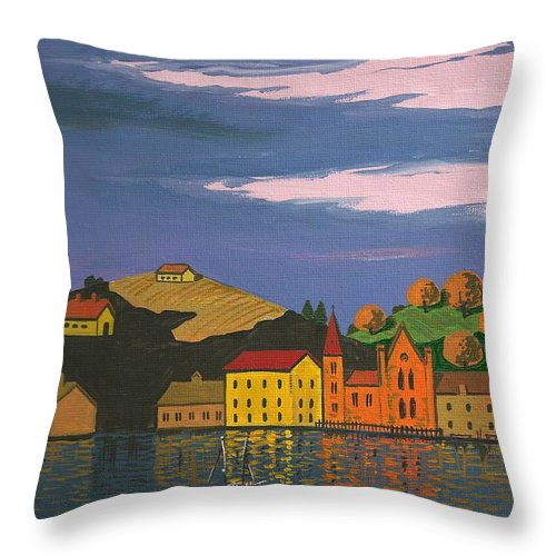 Painting Throw Pillow featuring the painting Harbor by Margaryta Yermolayeva