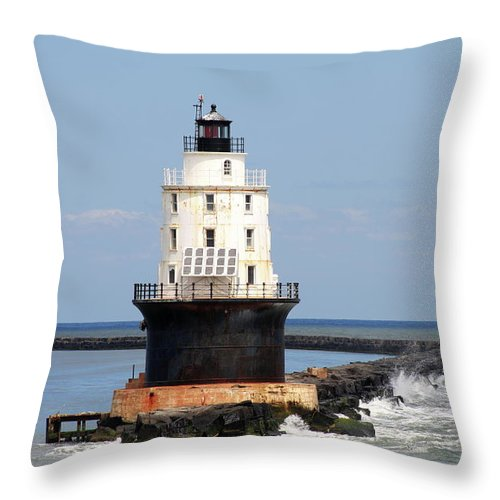 Harbor Of Refuge Light Throw Pillow featuring the photograph Harbor Of Refuge Light And Breakwater by Christiane Schulze Art And Photography