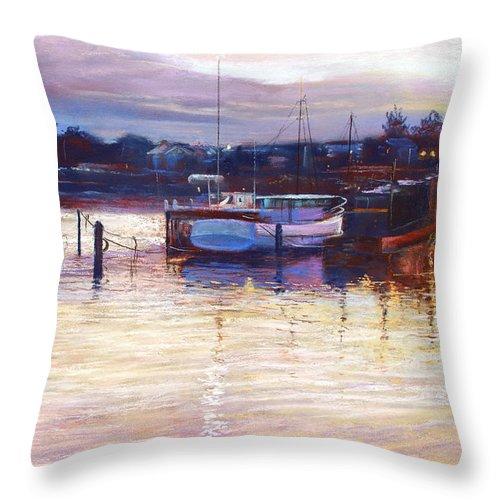 Lynda Robinson Throw Pillow featuring the pastel Harbour Lights - Apollo Bay by Lynda Robinson