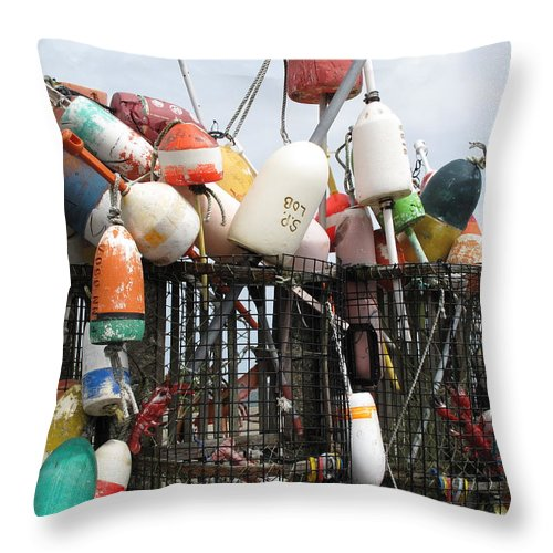 Buoys Throw Pillow featuring the photograph Hard Working Buoys by Barbara McDevitt