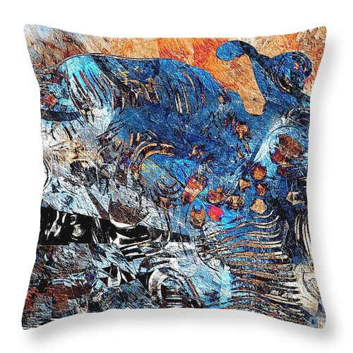 Graphic Throw Pillow featuring the painting Hare 682 -marucii by Marek Lutek