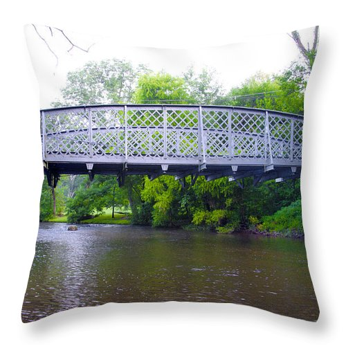 Hares Throw Pillow featuring the photograph Hares Hill Road Bridge by Bill Cannon