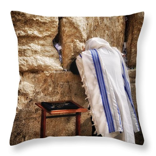 Israel Throw Pillow featuring the photograph Harken Unto My Prayer O Lord Western Wall Jerusalem by Mark Fuller
