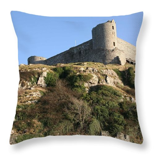 Castles Throw Pillow featuring the photograph Harlech Castle by Christopher Rowlands