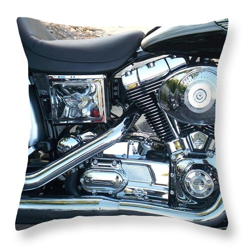 Motorcycles Throw Pillow featuring the photograph Harley Black And Silver Sideview by Anita Burgermeister