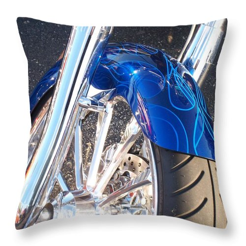 Motorcycles Throw Pillow featuring the photograph Harley Close-up Blue Flame by Anita Burgermeister