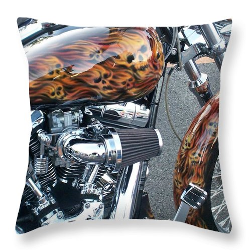 Motorcycles Throw Pillow featuring the photograph Harley Close-up Skull Flame by Anita Burgermeister