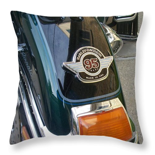 Motorcycles Throw Pillow featuring the photograph Harley Close-up Tail Light by Anita Burgermeister