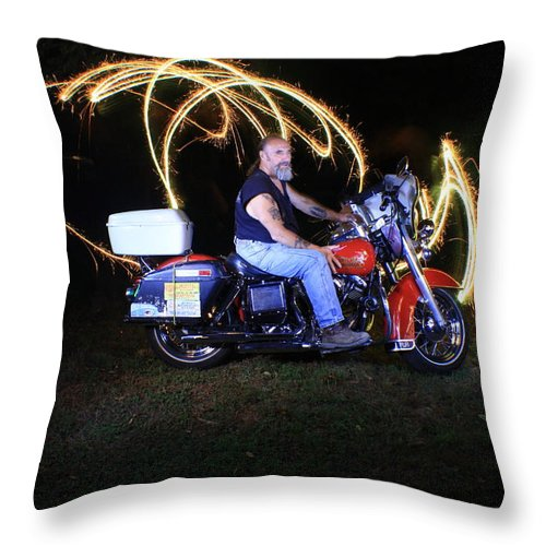 Jdavidson Throw Pillow featuring the photograph Harley Davidson Light Painting by Gary Keesler
