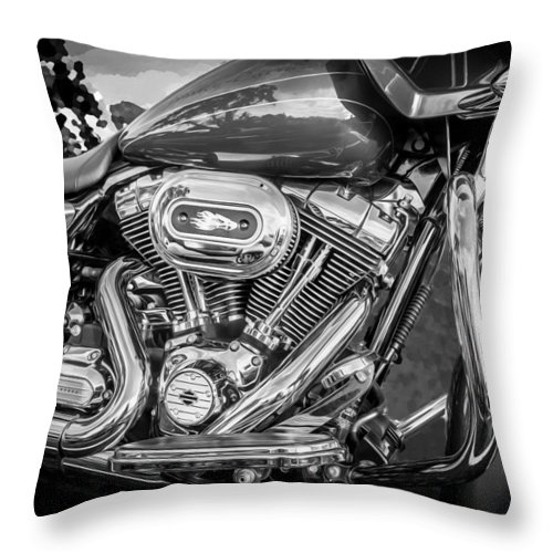 Motorcycle Throw Pillow featuring the photograph Harley Davidson Motorcycle Harley Bike Bw by Rich Franco