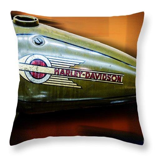 Harley-davidson Throw Pillow featuring the photograph Harley-davidson Tank Logo by Paul Mashburn