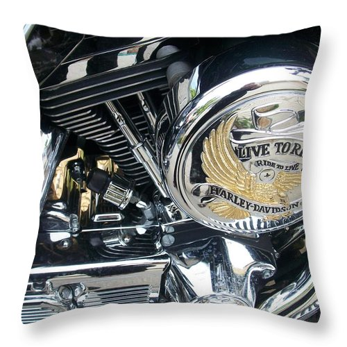 Motorcycles Throw Pillow featuring the photograph Harley Live To Ride by Anita Burgermeister