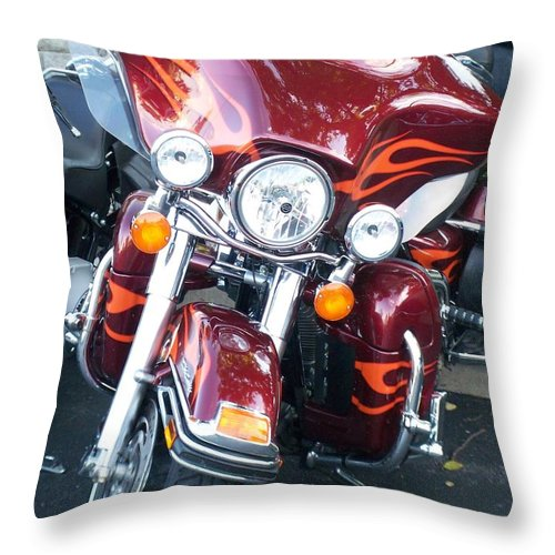 Motorcycles Throw Pillow featuring the photograph Harley Red W Orange Flames by Anita Burgermeister
