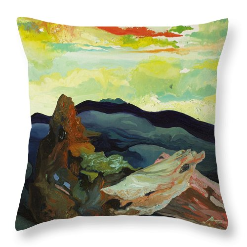 Landscape Throw Pillow featuring the painting Harmonica Under Firewood by Joseph Demaree