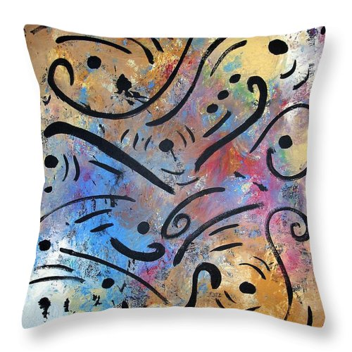 Abstract Throw Pillow featuring the painting Harmony And Rain by Venus