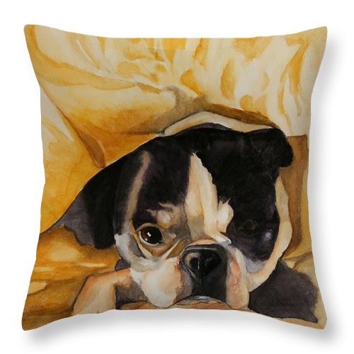 Animal Throw Pillow featuring the painting Harold's Bed by Susan Herber