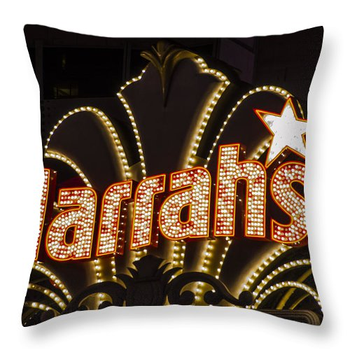 Las Vegas Throw Pillow featuring the photograph Harrahs - Las Vegas by Jon Berghoff