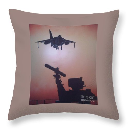 Jets Throw Pillow featuring the painting Harrier On Finals by Richard John Holden RA