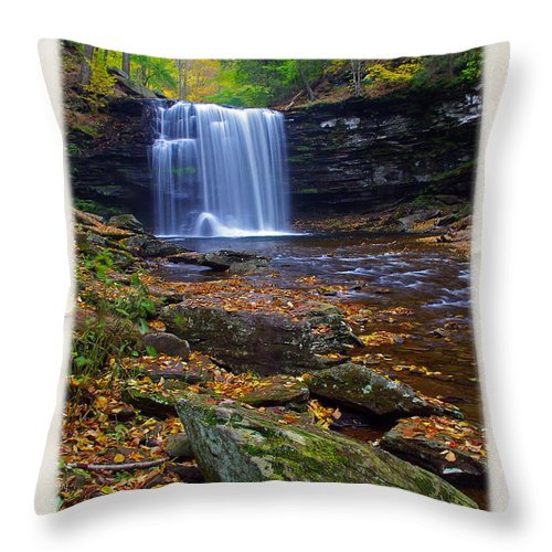 Pennsylvania Throw Pillow featuring the photograph Harrison Wright Falls In Autumn by Rich Walter
