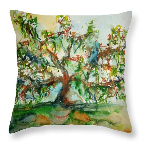 Harry Lauder's Walking Stick Throw Pillow featuring the painting Harry Lauders Walking Stick by Elaine Duras