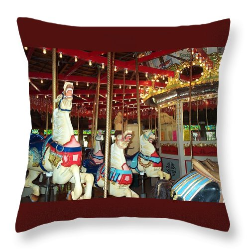 Carousel Throw Pillow featuring the photograph Hartford Carousel by Barbara McDevitt