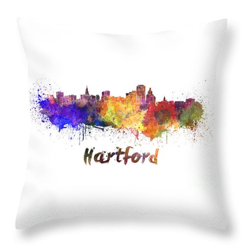 Hartford Throw Pillow featuring the painting Hartford Skyline In Watercolor by Pablo Romero