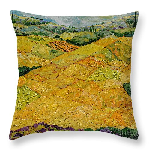 Landscape Throw Pillow featuring the painting Harvest Joy by Allan P Friedlander