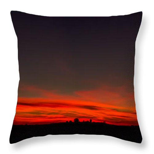 Landscape Sunset Farm Silhouette With Harvest Moon. Sky Is On Fire With Color Night. Throw Pillow featuring the photograph Harvest Moon by Michael J Samuels