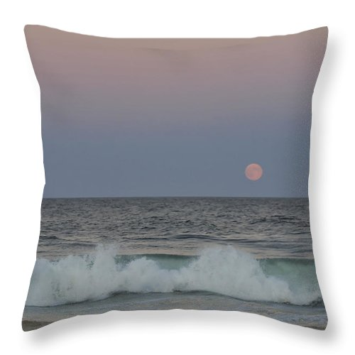 Harvest Moon Throw Pillow featuring the photograph Harvest Moon Seaside Park New Jersey 2013 by Terry DeLuco