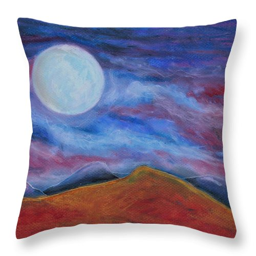 Sky Throw Pillow featuring the painting Harvest Moon 1 by Jeanne Fischer