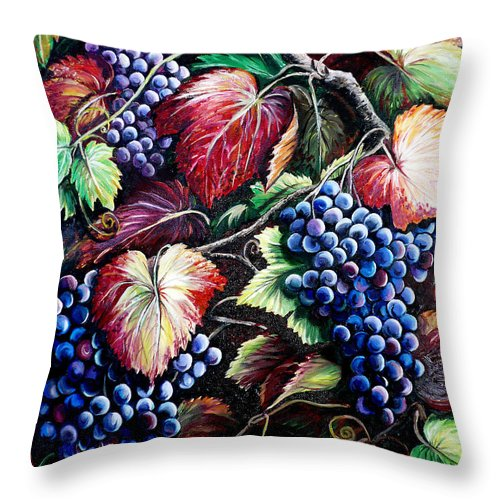Grapes Painting Throw Pillow featuring the painting Harvest Time by Karin Dawn Kelshall- Best