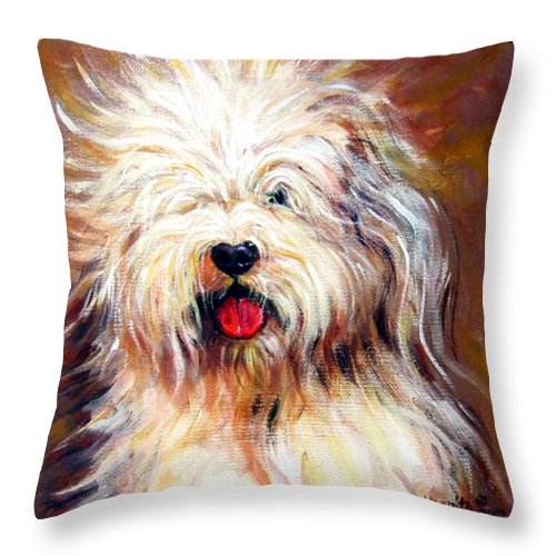 Sheepdog Throw Pillow featuring the painting Harvey The Sheepdog by Rebecca Korpita